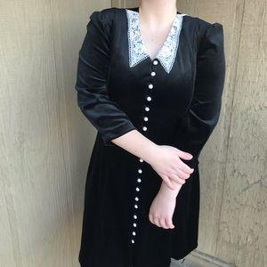 Vintage 80s Velvet Little Black Dress With Lace
